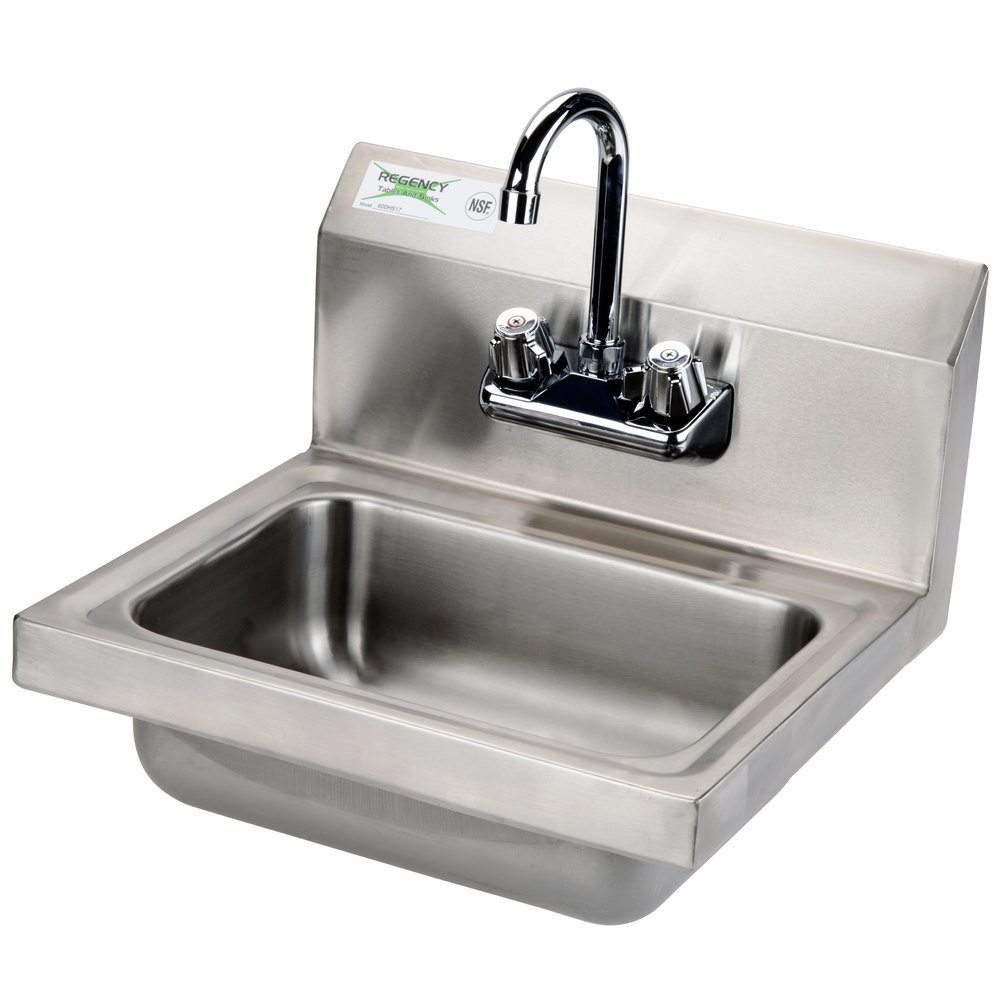 Regency Wall Mounted NSF Hand Sink with Gooseneck Faucet
