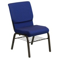 """Navy Blue Dot Patterned 18 1/2"""" Wide Church Chair with ..."""