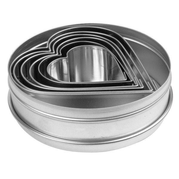 Ateco 7804 6 Piece Stainless Steel Plain Heart Cutter Set