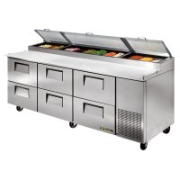 refrigerated prep table true tpp 93d 6 93 quot six drawer ...