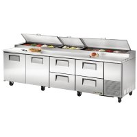 "True TPP-119D-4 119"" Refrigerated Pizza Prep Table with ..."