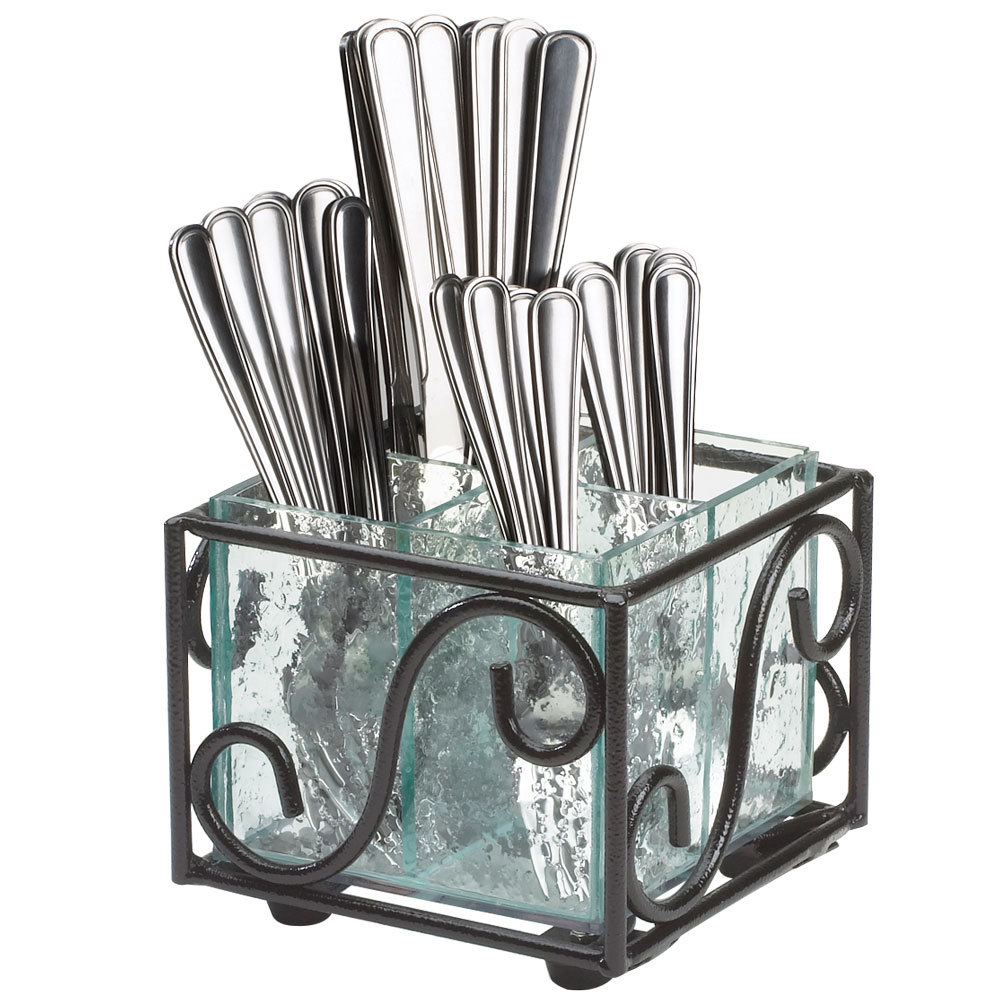 CalMil H35013 Aqua Wire and Faux Glass Flatware Holder