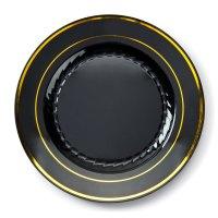 """Fineline Gold Splendor 510-BKG Black 10"""" Plastic Plate ..."""