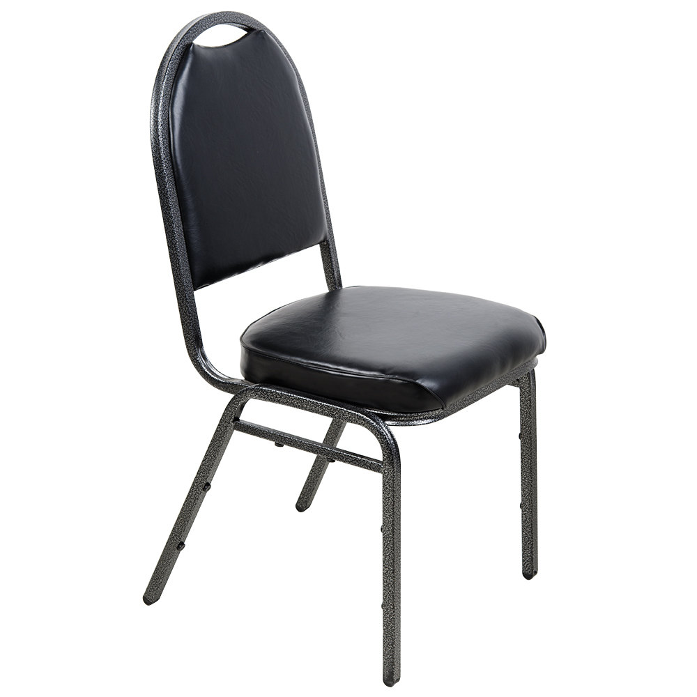 Lancaster Table  Seating Black Stackable Banquet Chair with 2 Padded Seat and Silver Vein Frame