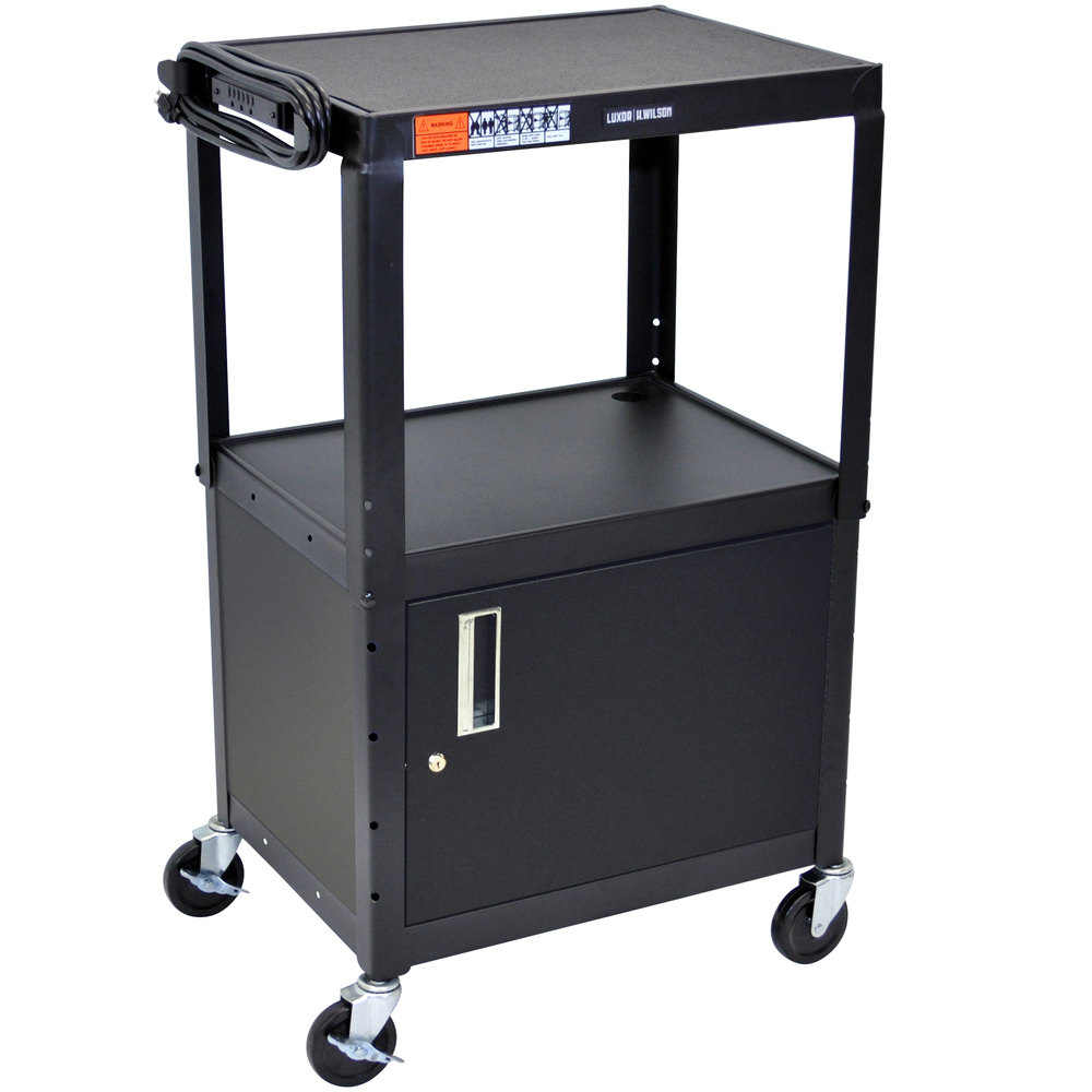Luxor AVJ42C Adjustable Height Black 2 Shelf AV Cart with