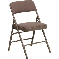 "Beige Metal Folding Chair with 1"" Padded Fabric Seat"