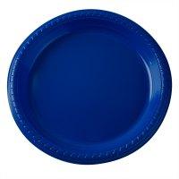 "Dart Solo PS95B 9"" Blue Plastic Plate"