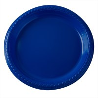 "Dart Solo PS95B 9"" Blue Plastic Plate - 500/Case"
