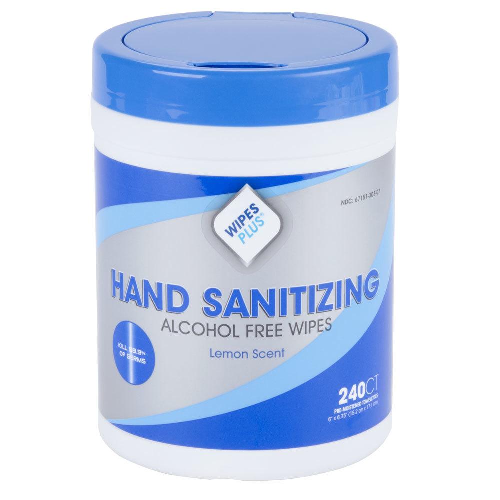 WipesPlus Lemon Scent Alcohol Free Hand Sanitizing Wipes ...