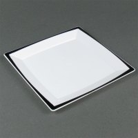 "WNA Comet MS75WTUX 6 3/4"" Square Milan Tuxedo Dinner Plate ..."