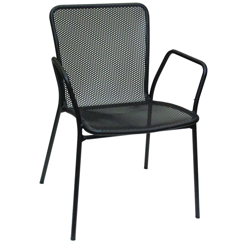American Tables and Seating 91 Black Outdoor Chair with Arms