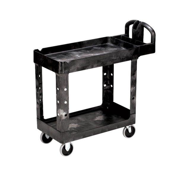 Rubbermaid Fg450088 Black Small Two Lipped Shelf Utility Cart