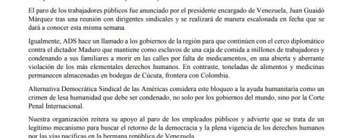 ADS SE SOLIDARIZA CON EL PARO DE LOS TRABAJADORES PÚBLICOS DE VENEZUELA