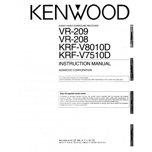 Kenwood VR-209/208/KRF-8010D/7510D Receiver Owners Manual