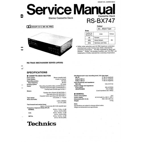 Technics service manuals, owners manuals and schematics on