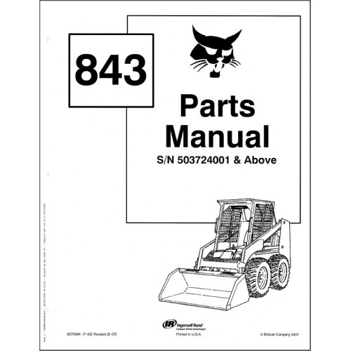 Bobcat 843 Skid Steer Loader Parts Manual on a CD