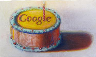 Google's birthday cake logo for 12th anniversay