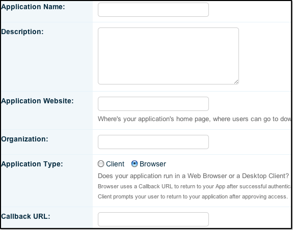 Twitter App Registration