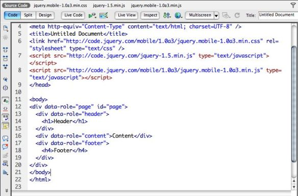 jquery mobile basic code