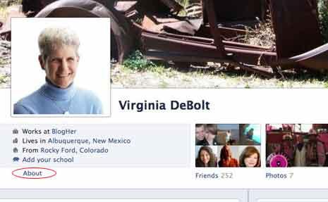 Virginia's Facebook profile