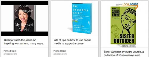 Pinterest screen shot of book club board