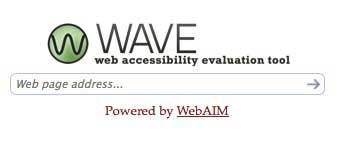 The WAVE tool URL entry form