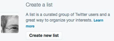 The new list button