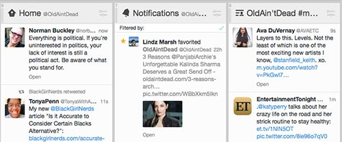 A screen grab from Tweetdeck