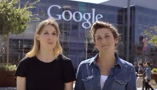 Nat and Lo in front of a Google sign