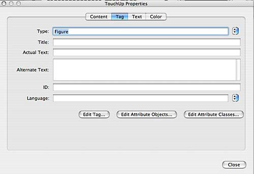 edit properties in the touch up dialog