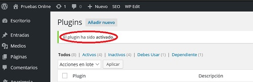 activar plugin de wordpress