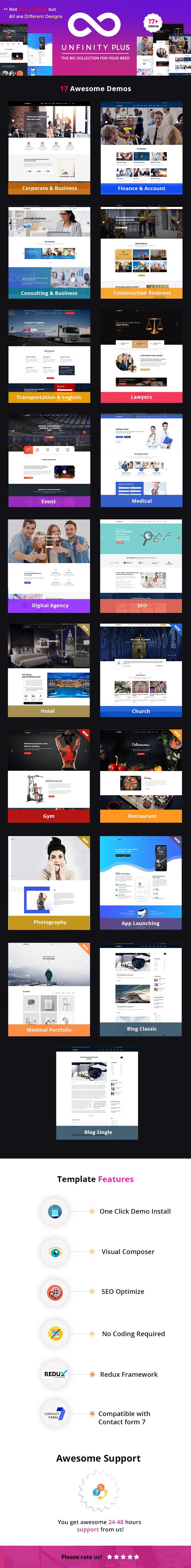 Unfinity Plus - Tema de WordPress multipropósito de una página
