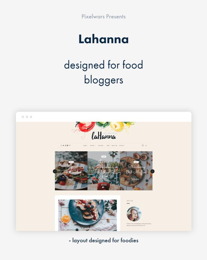 item by pixelwars - tema de blog de comida wordpress lahanna para bloggers de comida