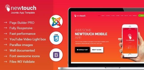 Newtouch Responsive App Landing Tema Joomla con Page Builder - Tecnología Joomla