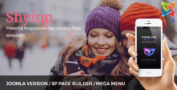 Shyinn - Tema de Joomla con Aterrizaje de aplicaciones receptivas con Page Builder - Tecnología Joomla