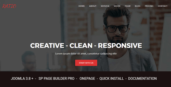 Ratio - Responsive Joomla Theme Design Agency con Page Builder - Joomla CMS Themes
