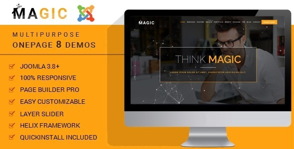 Magic - Tema Joomla en la página de usos múltiples con Page Builder - Empresa corporativa
