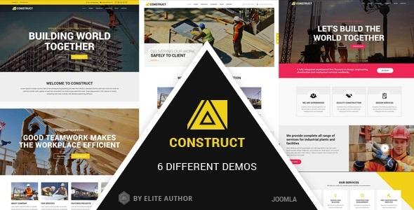 Construir - Construcción, tema de empresa de usos múltiples con creador de página - Corporativo Joomla