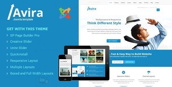 Avira: tema de Joomla multifuncional sensible con creador de páginas - Empresa corporativa