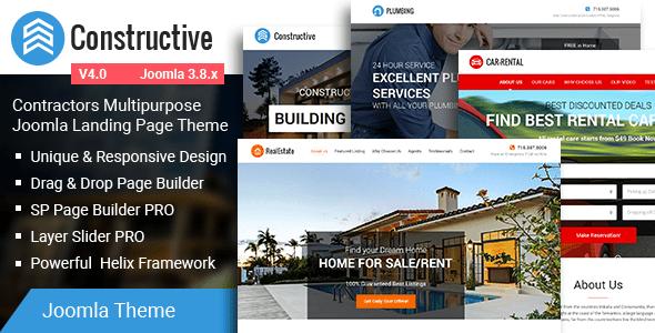 Constructivo: tema de la página de destino de Joomla para contratistas de usos múltiples - Joomla corporativo
