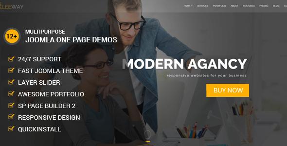 Leeway Multipurpose One Page Creative Joomla Theme con Page builder - Joomla CMS Themes
