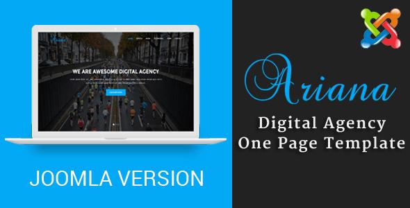 Ariana - Agencia digital tema de Joomla de una página con Page Builder - Temas de CMS de Joomla