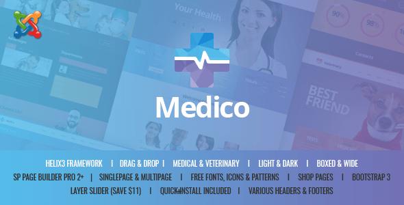 Medico - Tema de Joomla de negocios multiusos médicos y veterinarios - Salud y belleza Venta al por menor