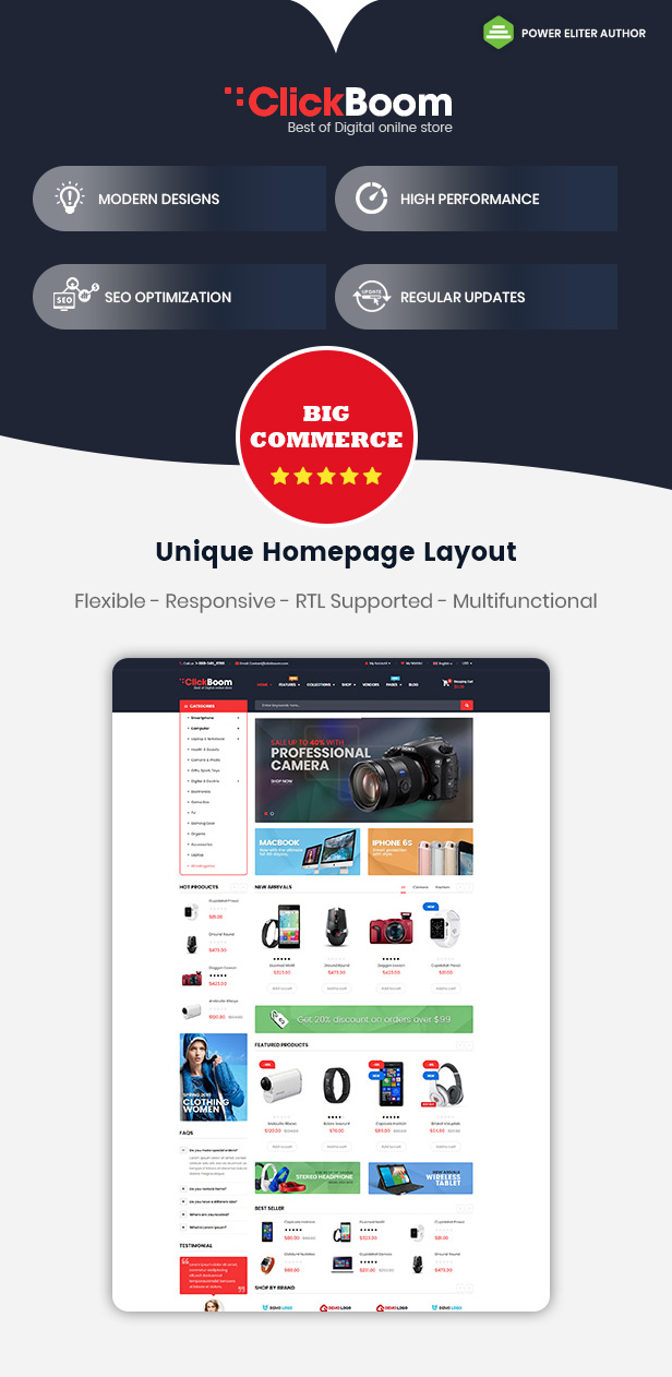 ClickBoom: tema de BigCommerce sensible a la plantilla multiusos