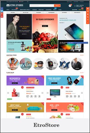 EtroStore - Tema de Shopify de comercio electrónico polivalente sensible