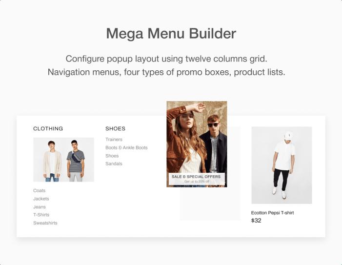 Constructor MegaMenu en el tema Shella Shopify