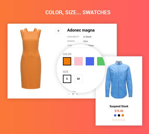 Color, muestras de tamaño