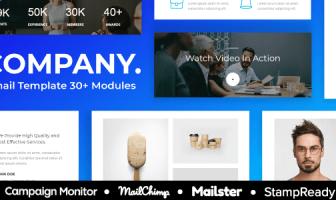 Compañía - Plantilla de correo electrónico sensible a la agencia Más de 30 módulos - StampReady + Mailster & Mailchimp Editor