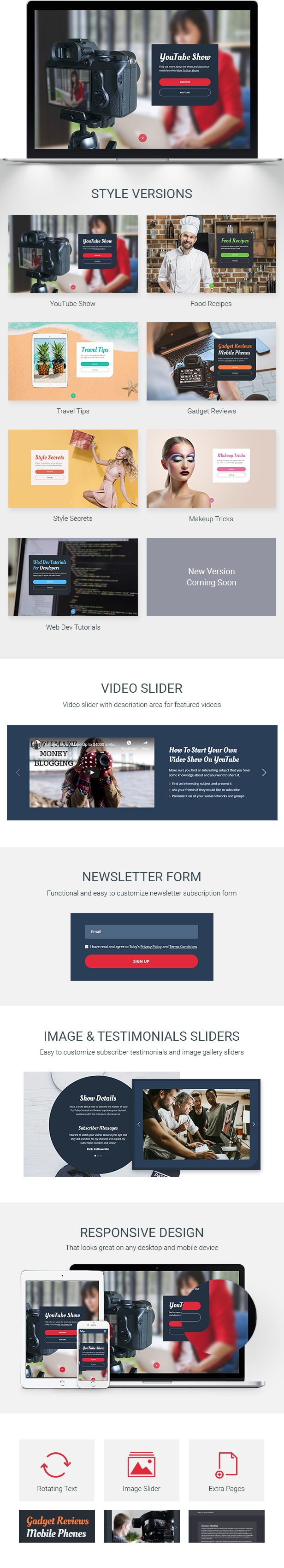 Tuby - Plantilla YouTube Show Landing Page