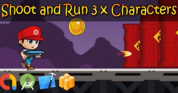 Dispara y ejecuta 3 x personajes: Buildbox + iOS Xcode 10 + Android Studio + Admob + GDPR + API 27